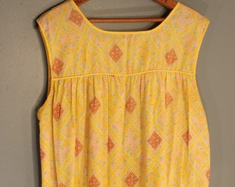 Vintage 1960's Handmade Yellow and Pink Floral Summer Dress Size XL Made in the USA