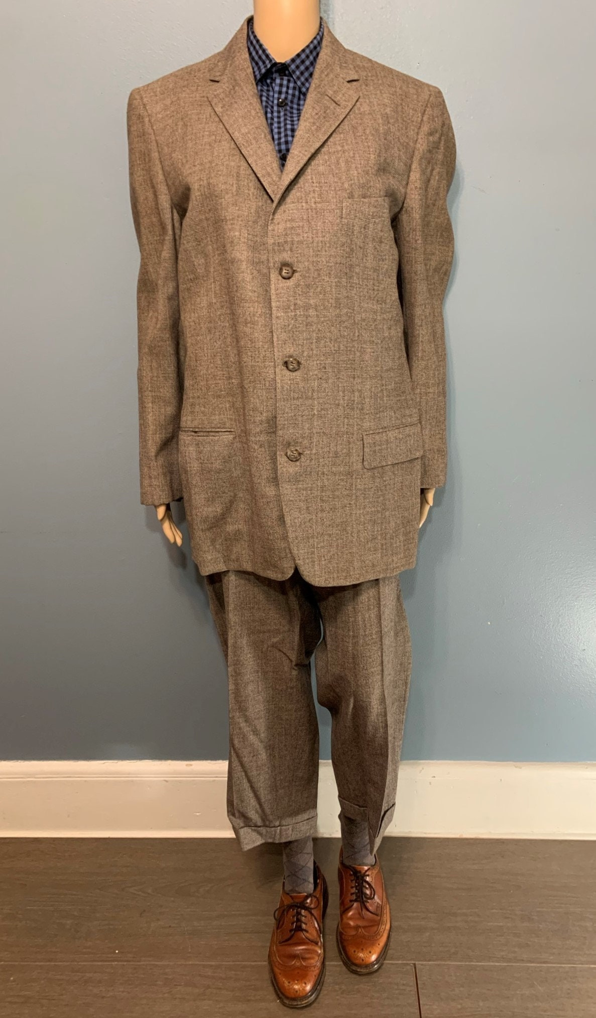 1950s Mens Suits & Sport Coats   50s Suits & Blazers Vintage 1940S-1950S Eagle Clothes Brown Suit Sportscoat  High-Waisted Pleated Trousers Tailored For Sam Soloman Hackensack, Nj, Usa $318.75 AT vintagedancer.com