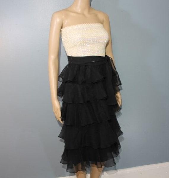 Vintage 1940's-1950's Handmade Black and White Se… - image 5
