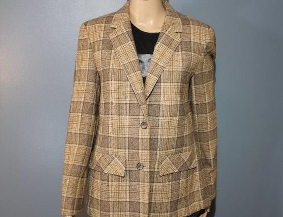 Women/'s size 14 Wool Blue Green Black Plaid Blazer Made USA
