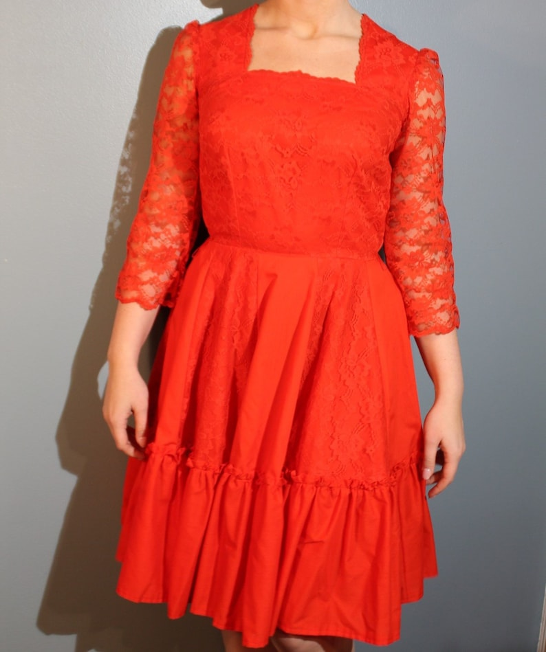 Vintage 1960/'s Handmade Red Square Neck Dress with Floral Lace Three-Quarter Sleeves