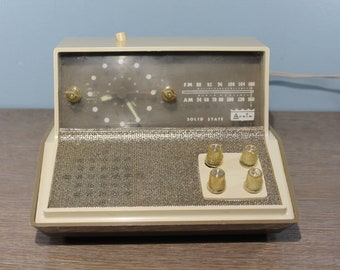 Rare Vintage Mid-Century Modern Arvin Solid State Analog Alarm Clock Radio