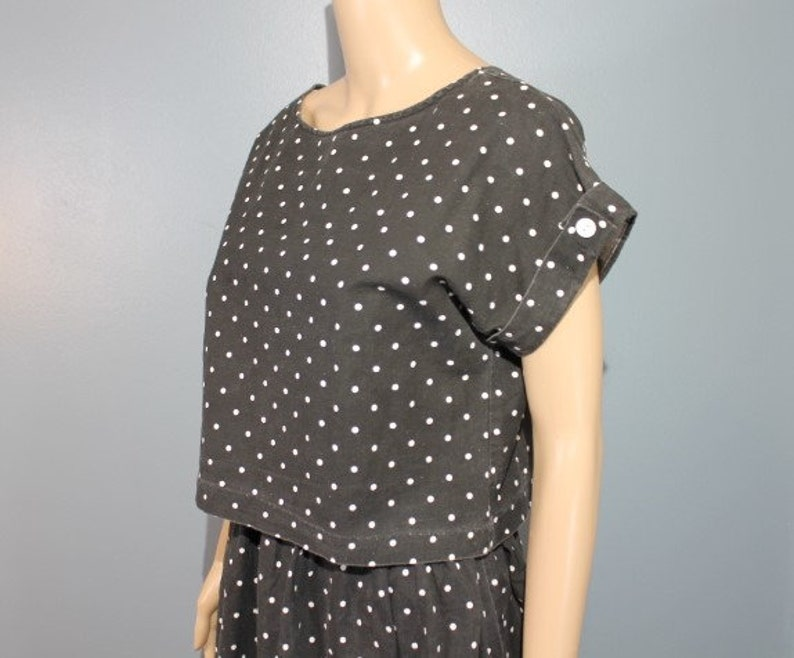 Vintage Mid-Century Modern Mary My Luv Black and White Polka Dot Two-Piece Outfit Dress and Blouse Women/'s Small Made in the USA