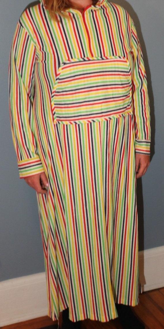 Vintage 1960's-1970's Multi-Colorful Striped Plush