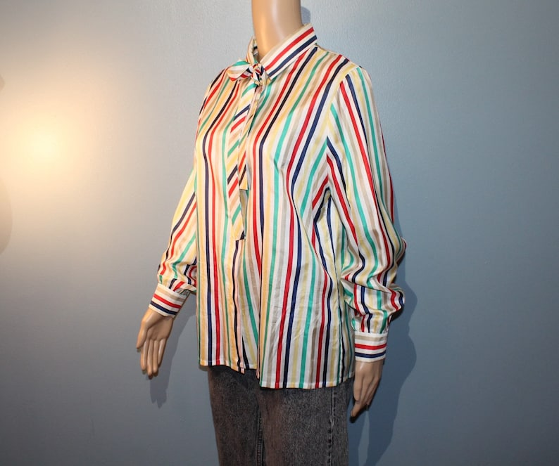 Vintage 1970/'s-1980/'s Bleyle Multicolored Pinstripe Button-up Long Sleeve Blouse with Fabric Necktie