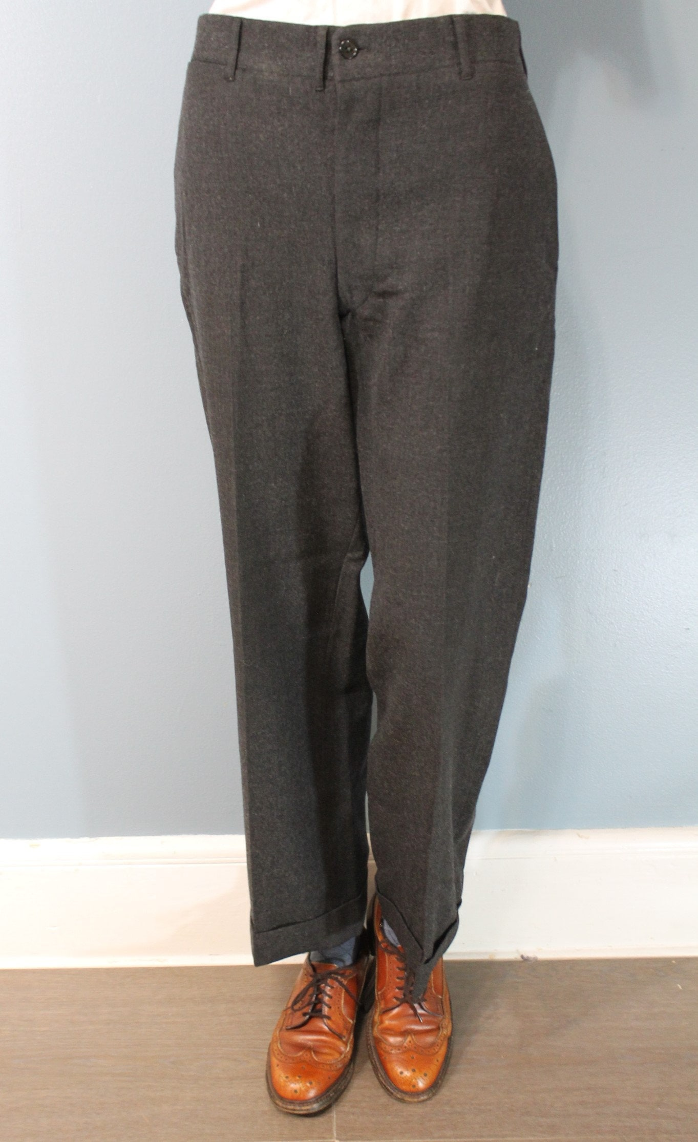 New 1930s Mens Fashion Ties Vintage 1930s Hickey Freeman Mens Hand Tailored Dark Gray Suit Pants High Waisted Pleated Trousers With Cuffs Made in The Usa $0.00 AT vintagedancer.com