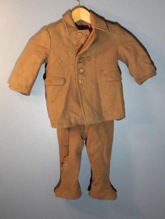 Vintage 1940's-1950's Distressed Handmade Wool Pea
