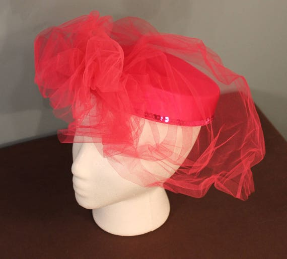 Vintage Hot Pink Fascinator Pillbox Sequins Hat wi