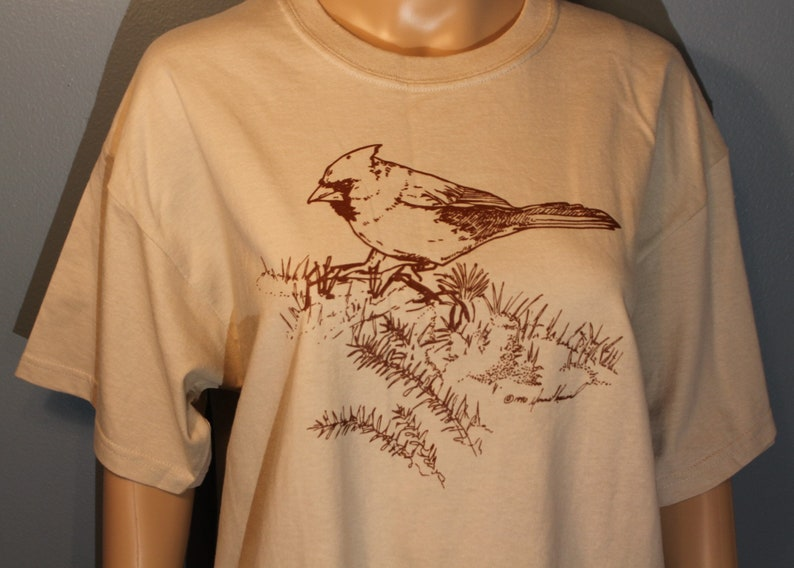 Vintage 1990's Outdoor Nature Series Cardinal Screen Print Ultra Cotton  Beige and Brown T-Shirt Like New