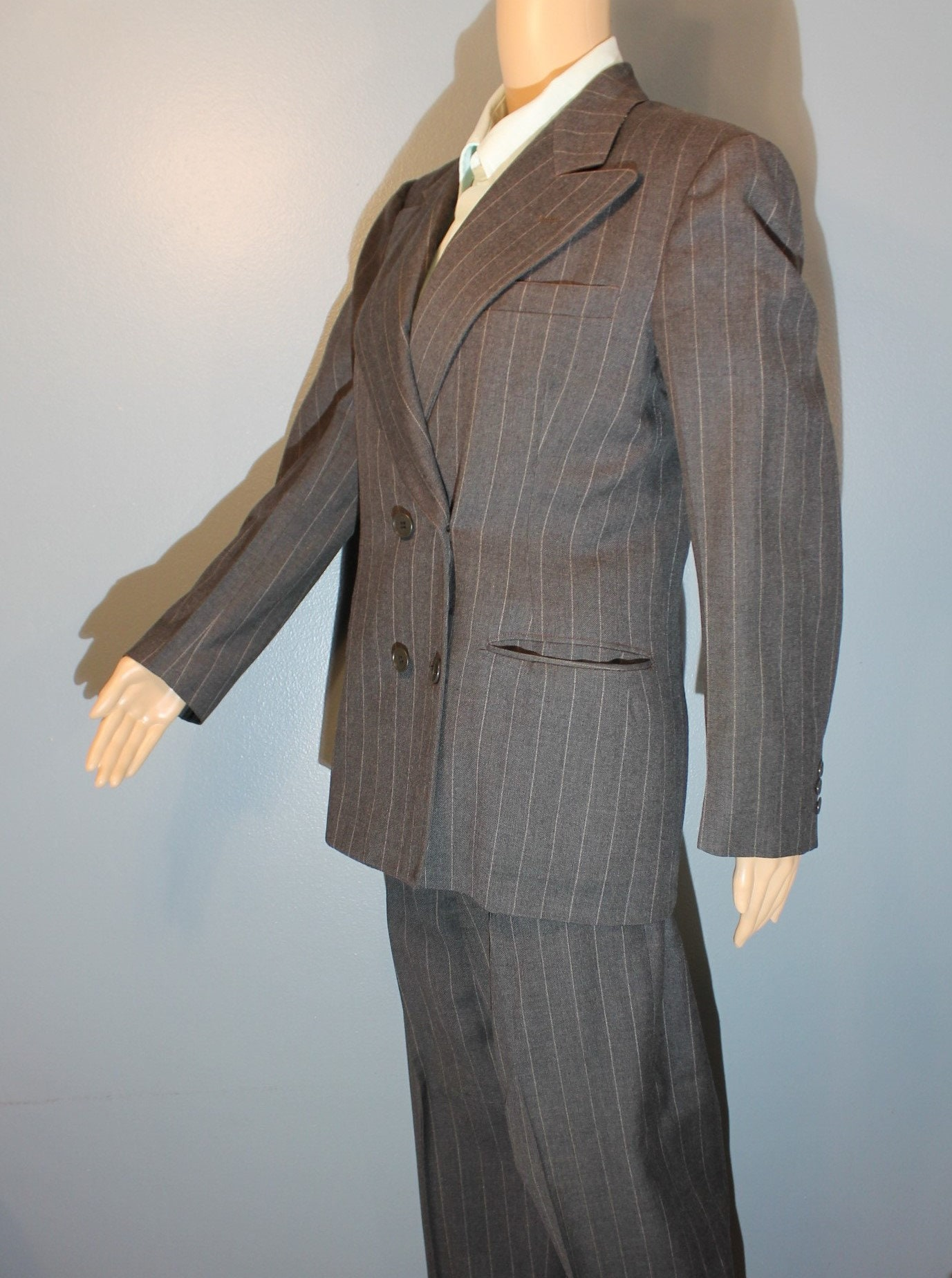 1950s Mens Suits & Sport Coats | 50s Suits & Blazers Vintage 1950s Mens Case Clothes Quality Hand Tailored Gray Pinstripe Wool Two-Piece Suit Amalgamated Workers Union $0.00 AT vintagedancer.com