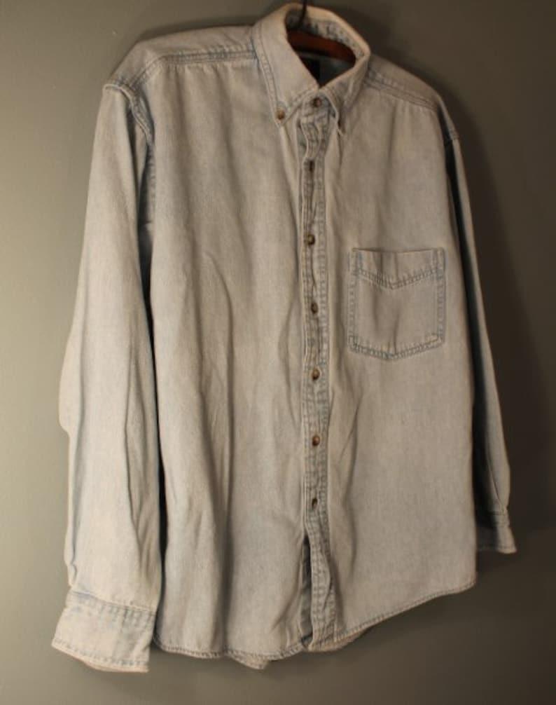 Vintage 1990/'s Club Room Men/'s Small Light Blue Denim Button Down Oxford Shirt