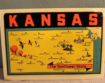 Vintage 1960's Kansas the Sunflower State Window Decal Sticker by Lingren-Turner, Co. Made in the USA