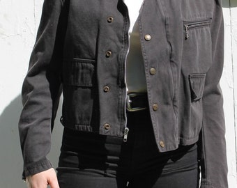 Vintage Designer Marithe Francois Girbaud Black Biker Style Zip Up Jacket Size Small RN 14892 Made in the USA