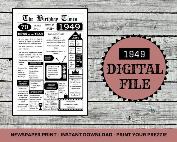 1949 Printable Newspaper Instant Download 1949 Newspaper