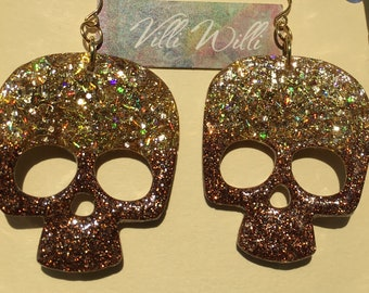 Holographic Gold and Brown Skull Large Statement Earrings Halloween! Unique Gift for Biker Day of the Dead Stainless Steel French Hooks