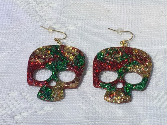 Drummer Nutcracker Holographic Christmas Earrings Great Christmas Hostess Gift or for Christmas Party Unique Stainless Steel French Hooks