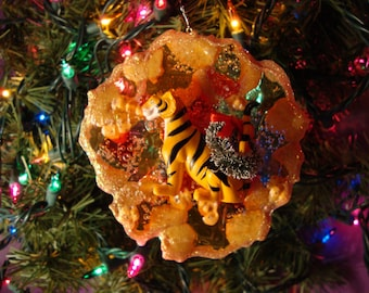 Disney's Rajah the Tiger and his Christmas Wreath Christmas Ornament, Unique Holiday gift or Fun Stocking Stuffer!