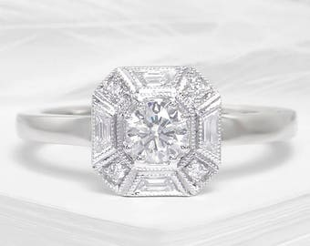 Art deco diamond and white gold engagement ring - square cut diamond ring, vintage diamond ring, art deco diamond wedding ring