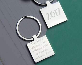 Personalised Engraved Keyring Keychain New Year Resolution Personal Goal 2017
