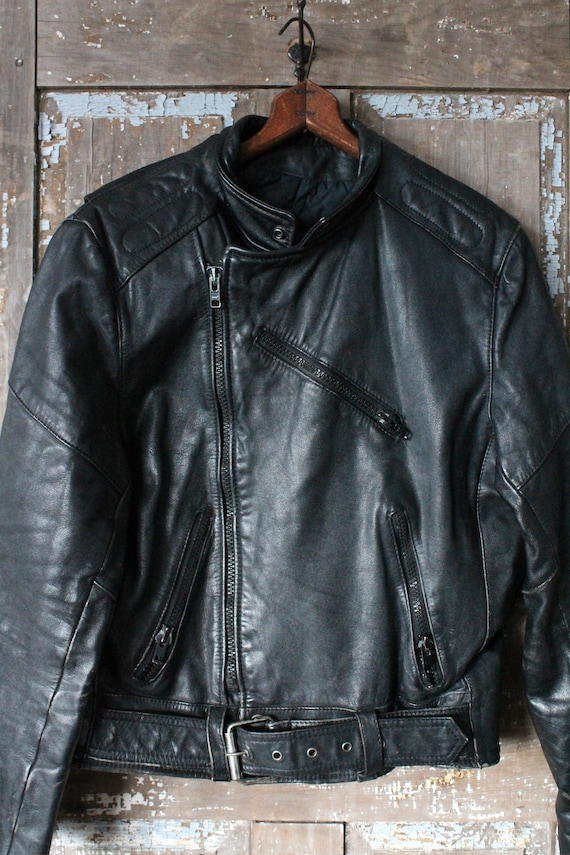 Black Leather 1980's Motorcycle Jacket men's mediu