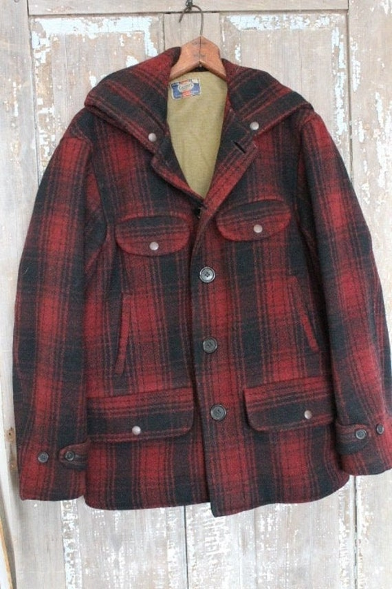 Vintage Carter's 1940's Buffalo Plaid Hooded Wool