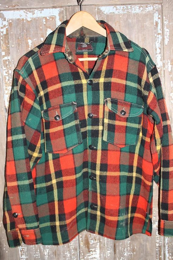Johnson Woolen Mills Wool 60's shirt men's m