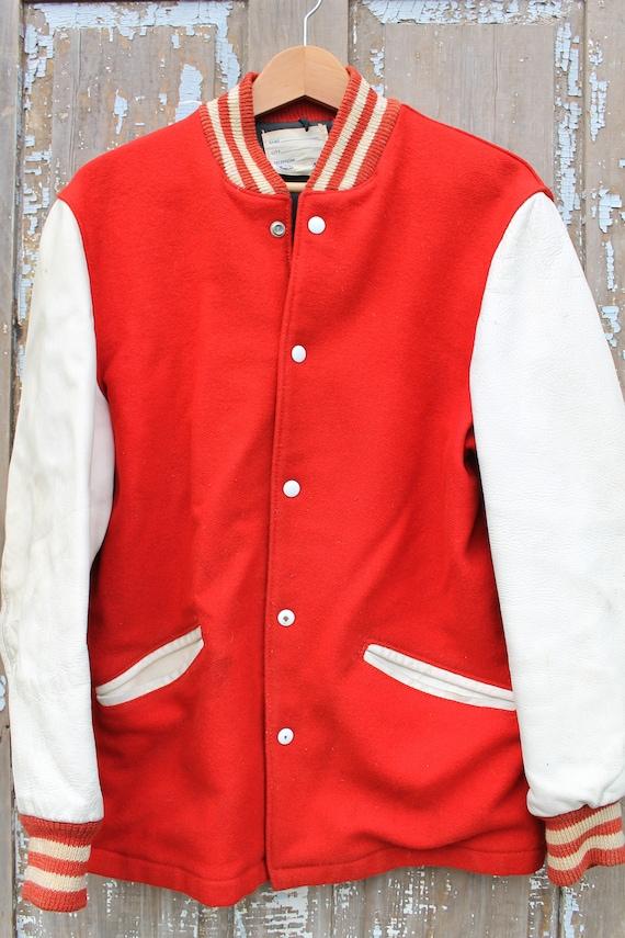 Varsity Letterman Wool Jacket Men's Medium Leather