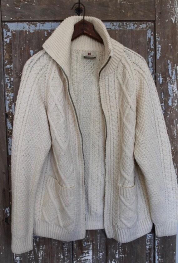 Vintage Hand Knit Irish Fisherman's Cardigan Wool