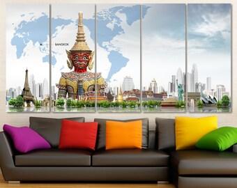 Buddha Wall Art, Geometric World Map Canvas Print, World Map Kids Room, Framed Push Pin Map, Worldmap Poster, Push Pin Travel Map, Thailand