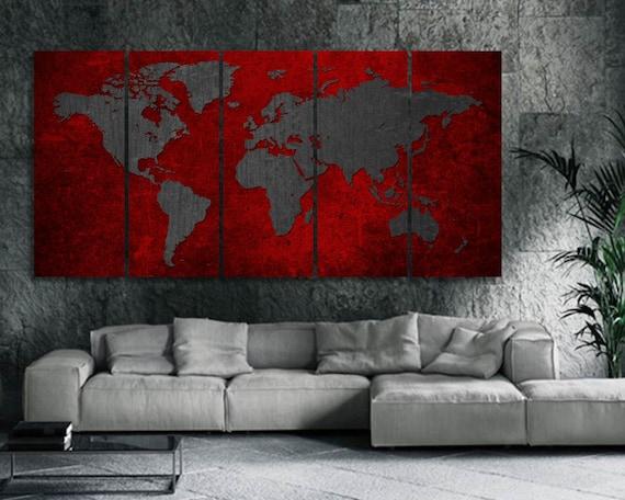 Red World Map Canvas Print / World Map Wall Art / Large Canvas Art / World  Map Art Print / Black&Red World Map / Push Pin World Map / Poster