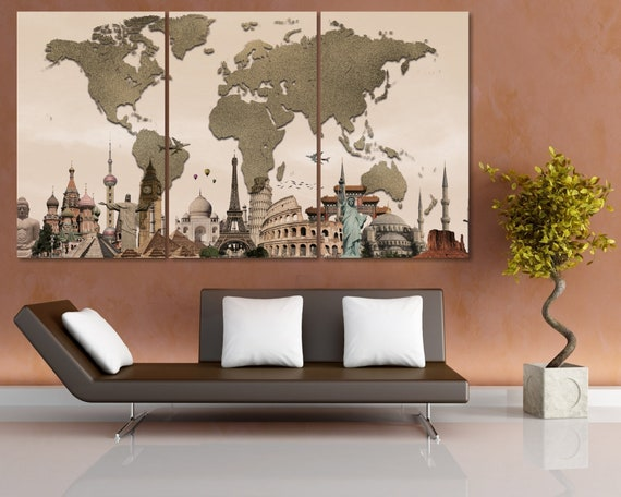 Traveler World Map Canvas Art / Large World Map Canvas Print / Push Pin  World Map / Traveler Gift / Map Push PIn / 3d World Map / WM Poster