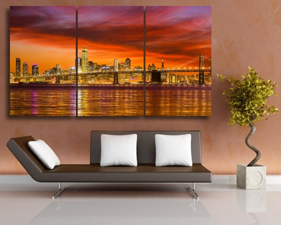 San Francisco Sunset Canvas Art San Francisco Skyline City Etsy