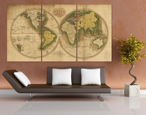 Old World Map Canvas.Old World Map Canvas Art Old World Map Canvas Framed Push Etsy
