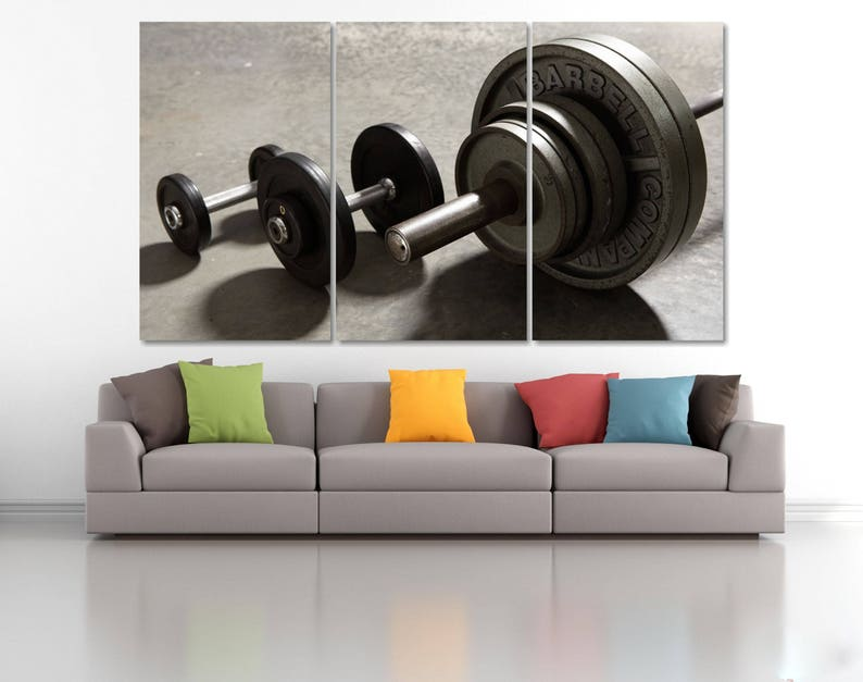 Gym wall decor gymnastic poster barbell wall art barbells etsy