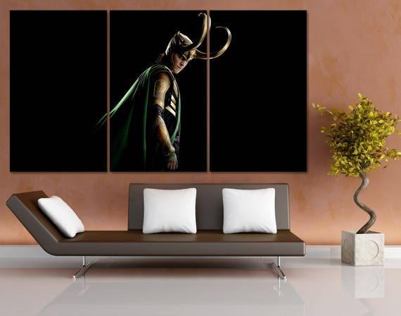 Large Loki Wall Art, Marvel Wall Decor, Avengers Wall Art, Thor Ragnarok  Movie Poster, Tom Hiddleston, Superhero Prints, Loki Print LC100
