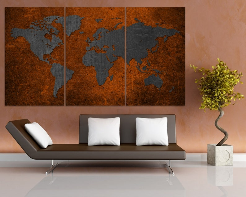 Bronze World Map Canvas Print / World Map Wall Art / Large Canvas Art /  World Map Art Print / Dark World Map / Push Pin World Map / Interior