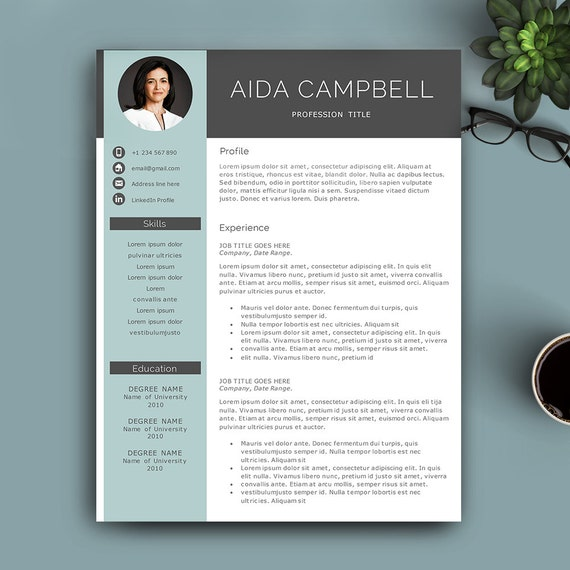 Modern Resume Template For Pages & MS Word. Complete 123