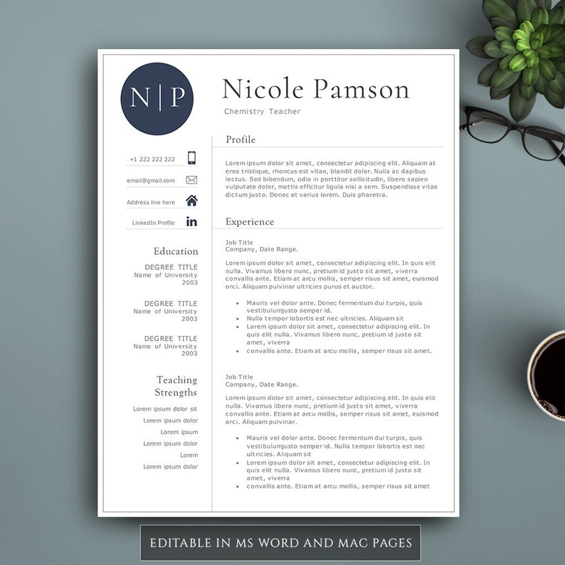 Professional Resume Template For Pages & MS Word  Complete 1,2,3 Pages  Resume Template  Editable CV template  Teacher Resume  Modern Resume
