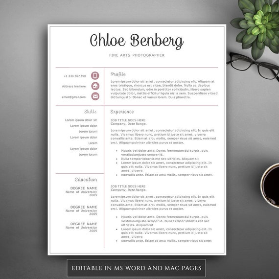 professional resume template for pages ms word complete etsy