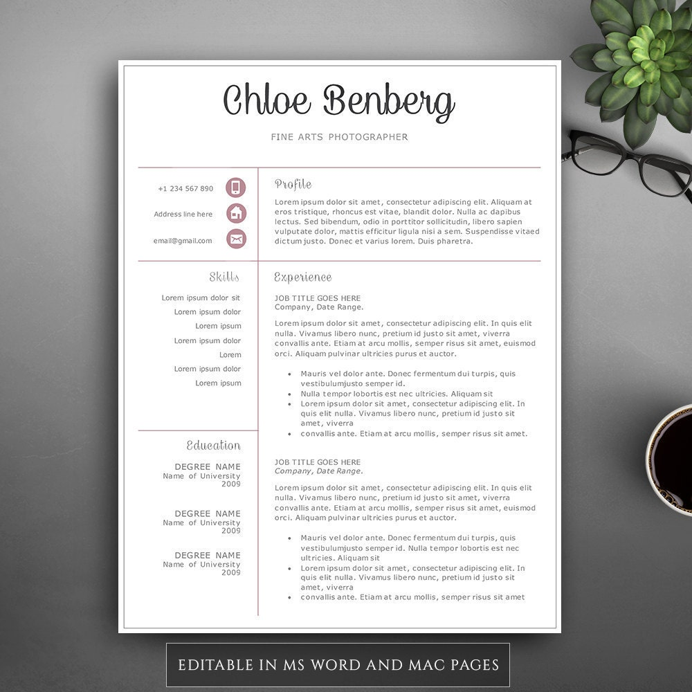 professional resume template for pages  u0026 ms word  complete