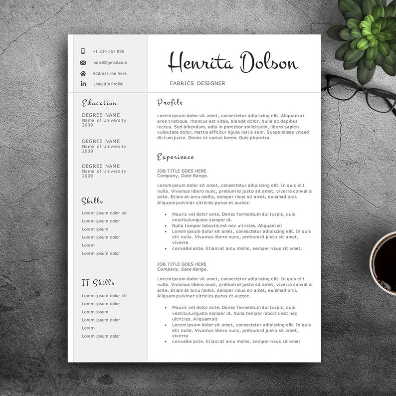 Professional Resume Template For Pages And MS Word Complete 123 Editable CV Creative Elegant