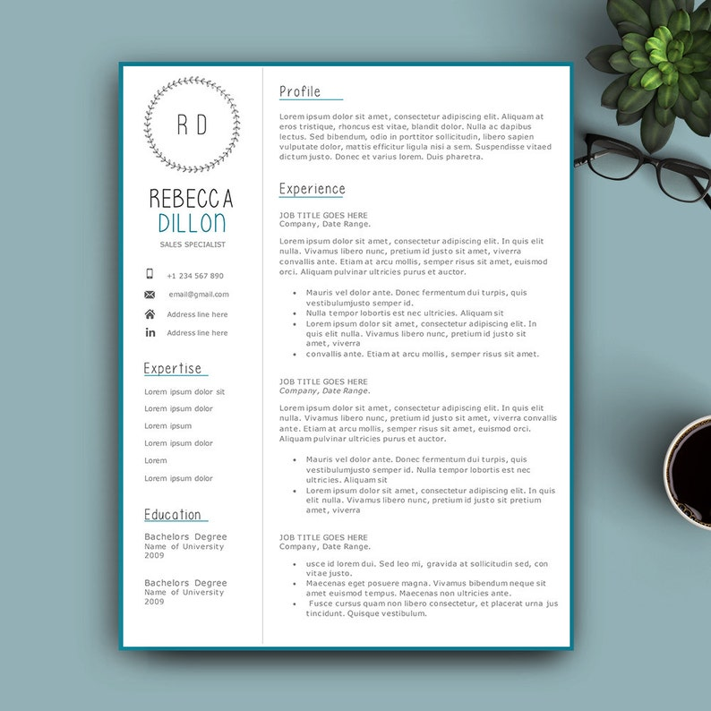 Creative Resume Template For Pages And MS Word Complete 123