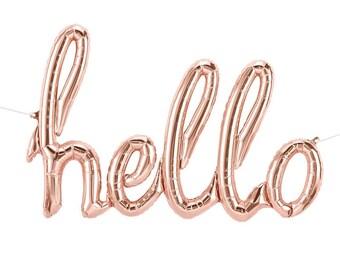 """Rose Mylar or, Bonjour Script ballon, 31"""" Mylar Or Rose Bonjour ballon, Bonjour Script ballon, décor de fête, fête d'anniversaire"""