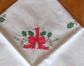 Two Vintage White Cotton Christmas / Holiday Tablecloths with Red and Green Applique and Embroidery c1980