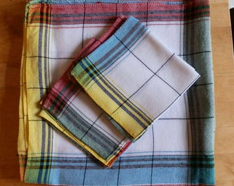 Vintage Green, Red, Blue and Yellow Check / Plaid Rayon and Cotton Tablecloth with Four Matching Napkins c1950
