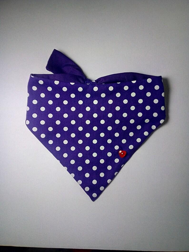 Purple and White Spotty Tie on Dog Bandana