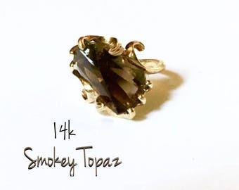 14k Smokey Topaz Ring SALE