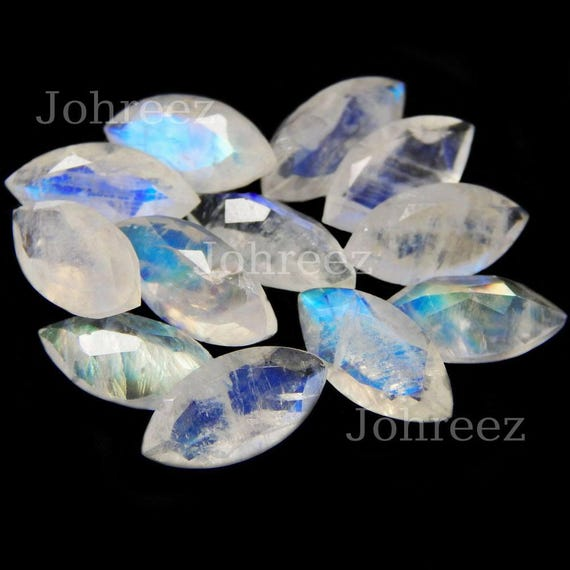 Marquise Shape Cut Stone Size weight 7.90 crt Rainbow Moonstone Good Quality 9x24 mm Faceted Both Side