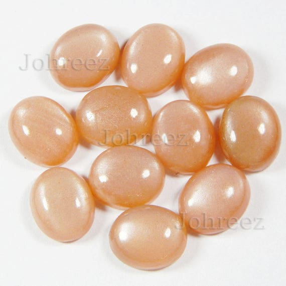 Details about  / Wholesale Lot ! Natural Peach Moonstone 8x10 MM Oval Cabochon Loose Gemstone