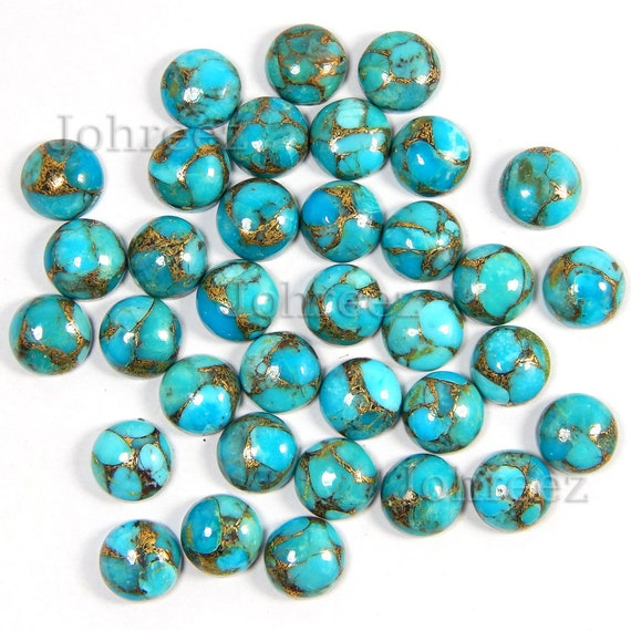 3mm to 10mm Natural Green Copper Turquoise Round Cabochon Loose Gemstone